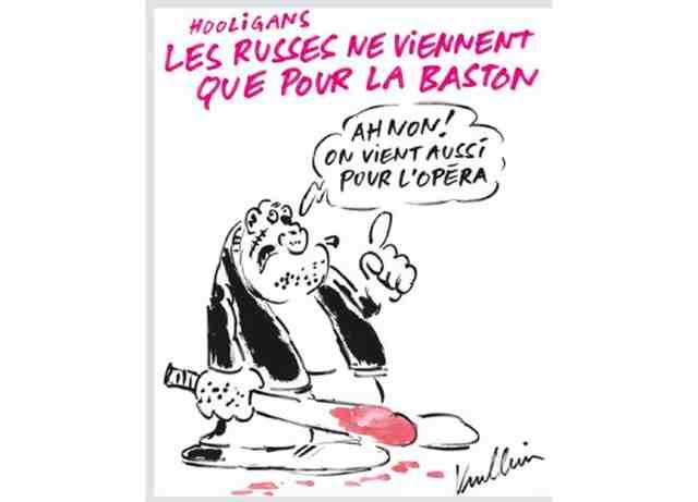 Карикатура на российских болельщиков от Charlie Hebdo.