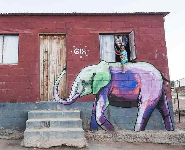 граффити со слонами