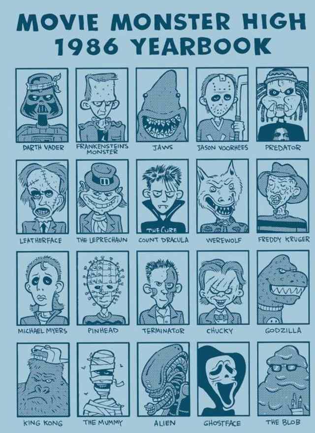 карикатуры на героев фильмов ужасов