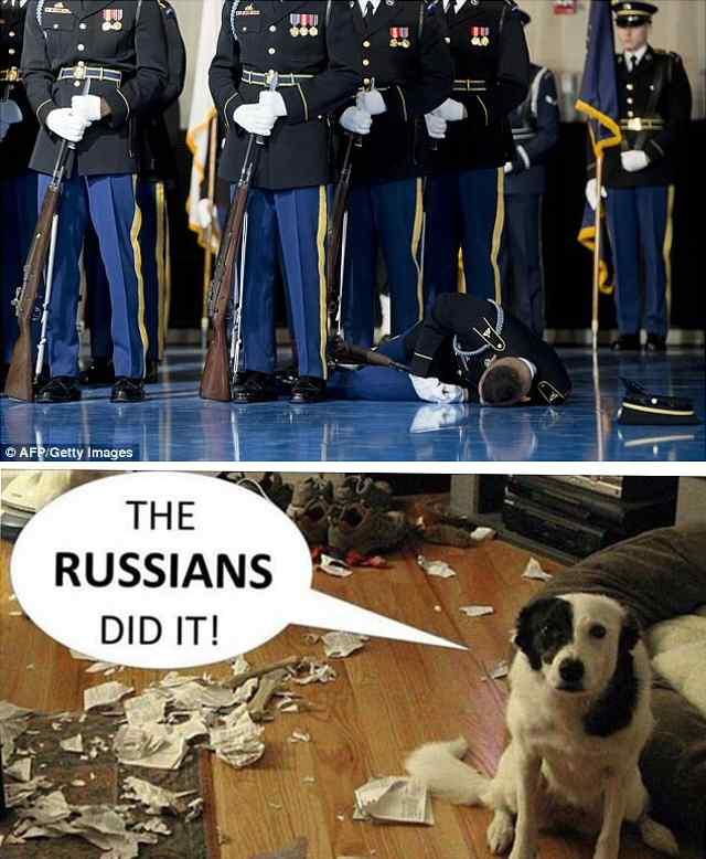 Фотожаба, Солдат потерял сознание во время прощальной  речи Обамы.