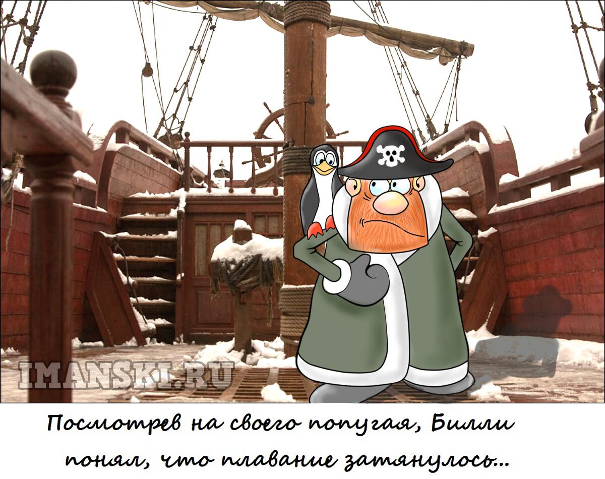 Карикатура. Пират и попугай. Автор Игорь Иманский.