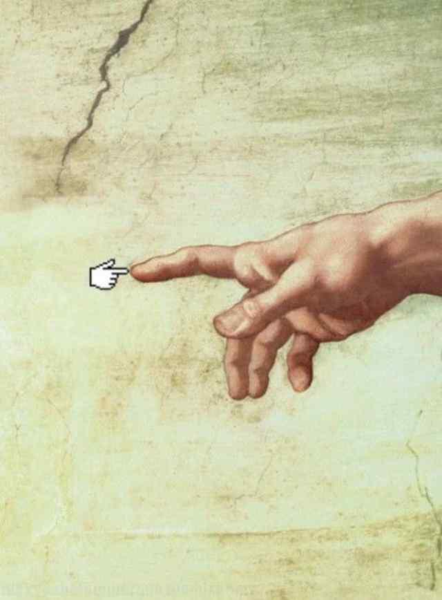 Сотворение Адама. Пародии, карикатуры.